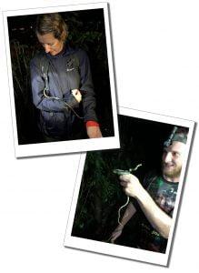 SueWhereWhyWhat and a Green snake, Nightwalk, Mindo, Ecuador