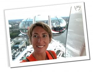 SueWhereWhyWhat, in a pod on The London Eye