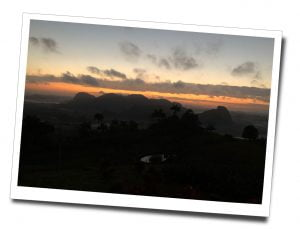 Sunrise behind the mountains, Viñales, viewpoint