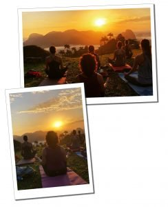 SueWhereWhyWhat on the left with fellow Yogi's, Sunrise, Vinales, viewpoint