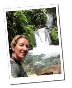 SueWhereWhyWhat at a Waterfall during a Hike to Madre, Ecuador
