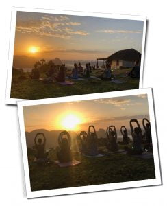 SueWhereWhyWhat, far left as her group practise Yoga, Sunrise, Viewpoint, Los Acuáticos, Viñales, Cuba