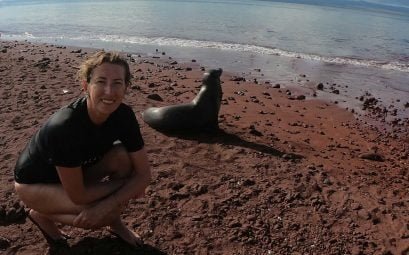 SWWW title pic of Sue and a Sea lion on the red beach at Rabida. The Best 8-Day Boat Tour Of The Galápagos Islands