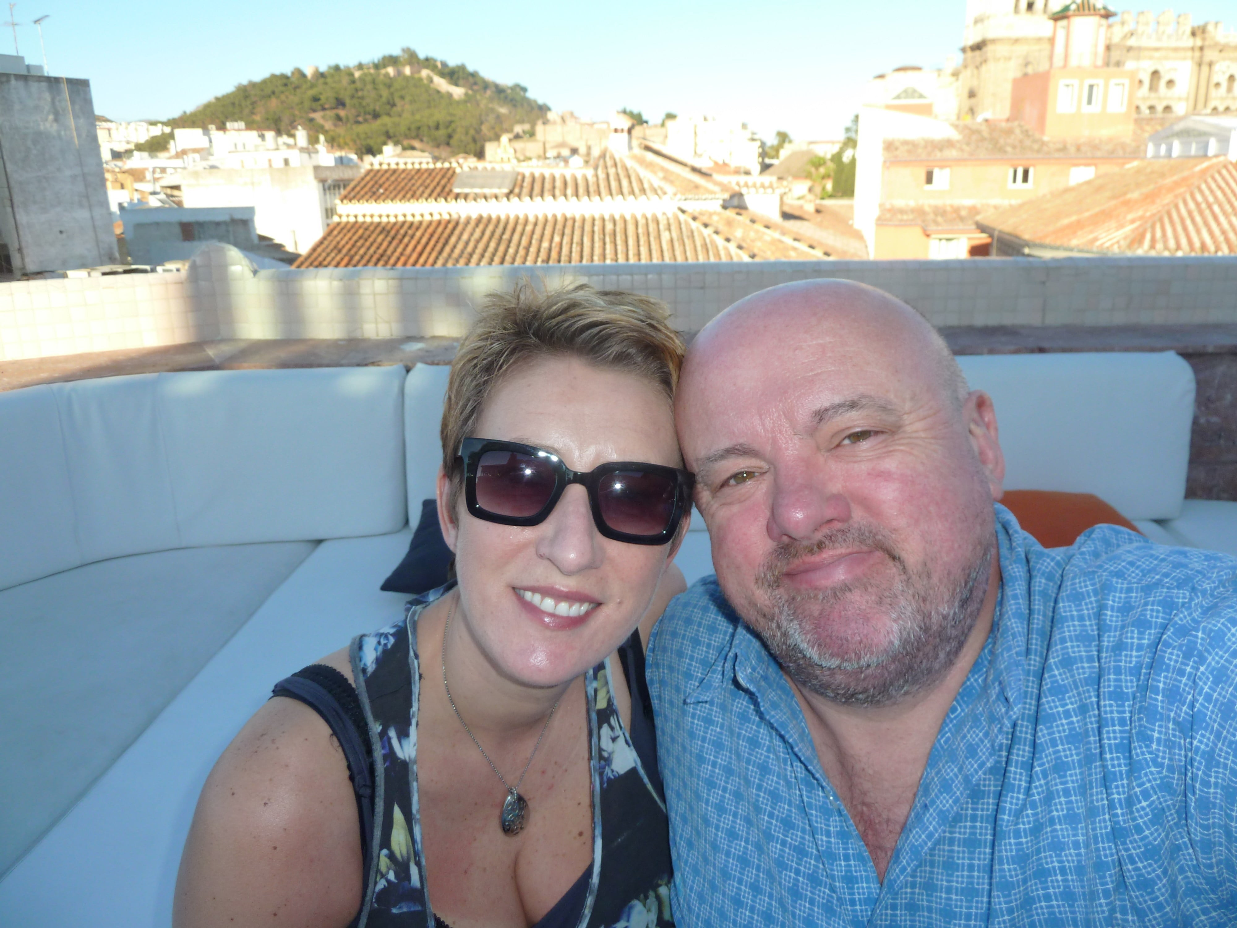 SueWhereWhyWhat and Husband Terry Malaga, Spain – May 2014