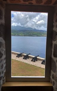 View of 4 canons from a window of Fort Shirley, Cabrits, Dominica, Caribbean