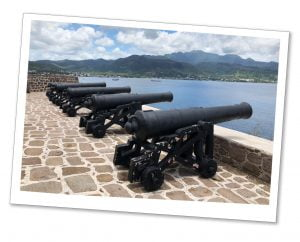 Canons point out to sea at Cabrits, Fort Shirley, Caribbean