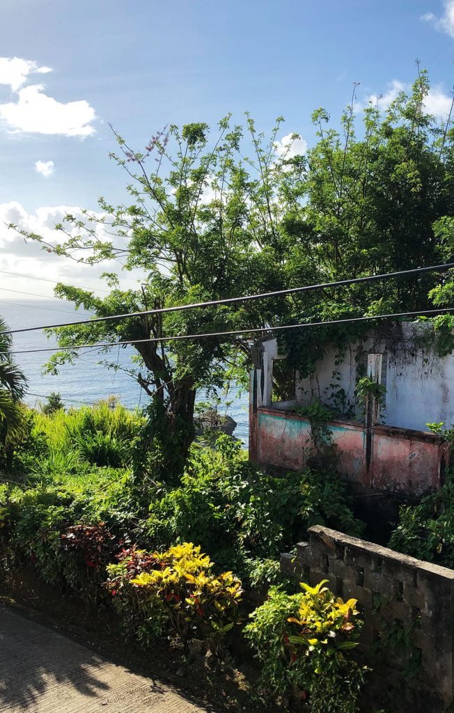 House Devastated by Hurricane, lies overgrown on the seafront, Dominica, Caribbean