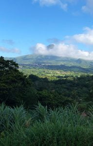 A cloud shrouded Mont Pelee from a distance, Martinique