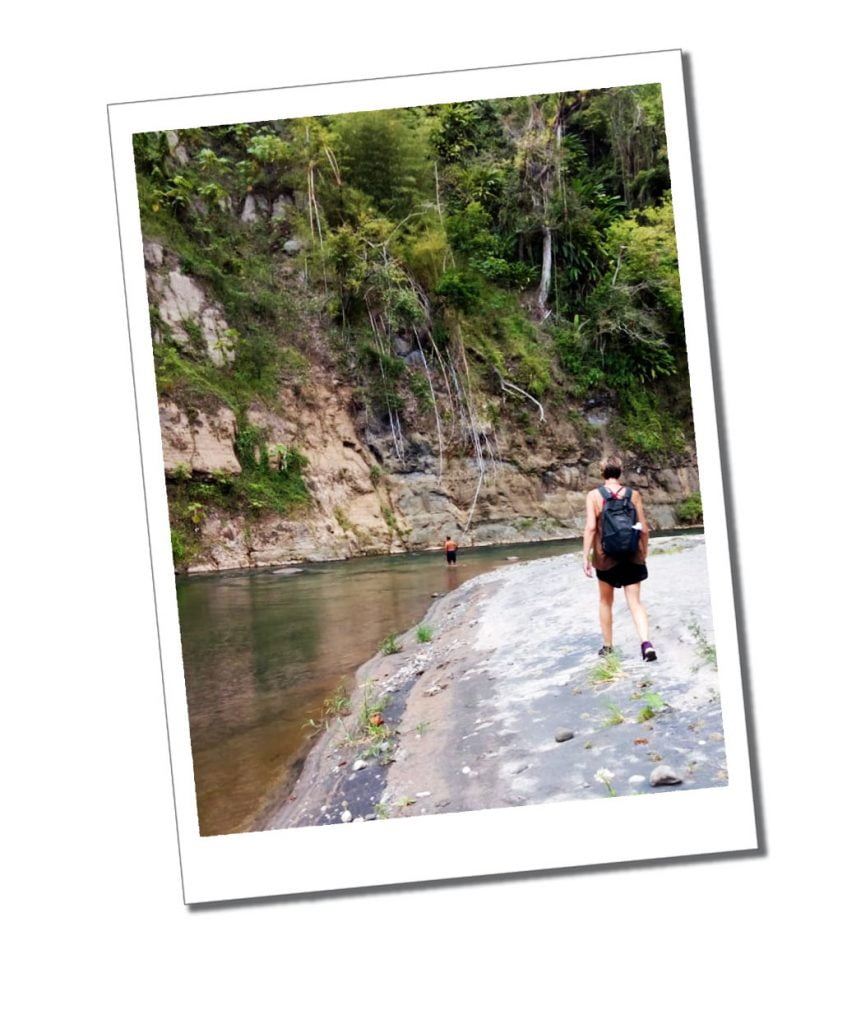 SuewhereWhyWhat hiking near the secret spa river, Dominica, Caribbean