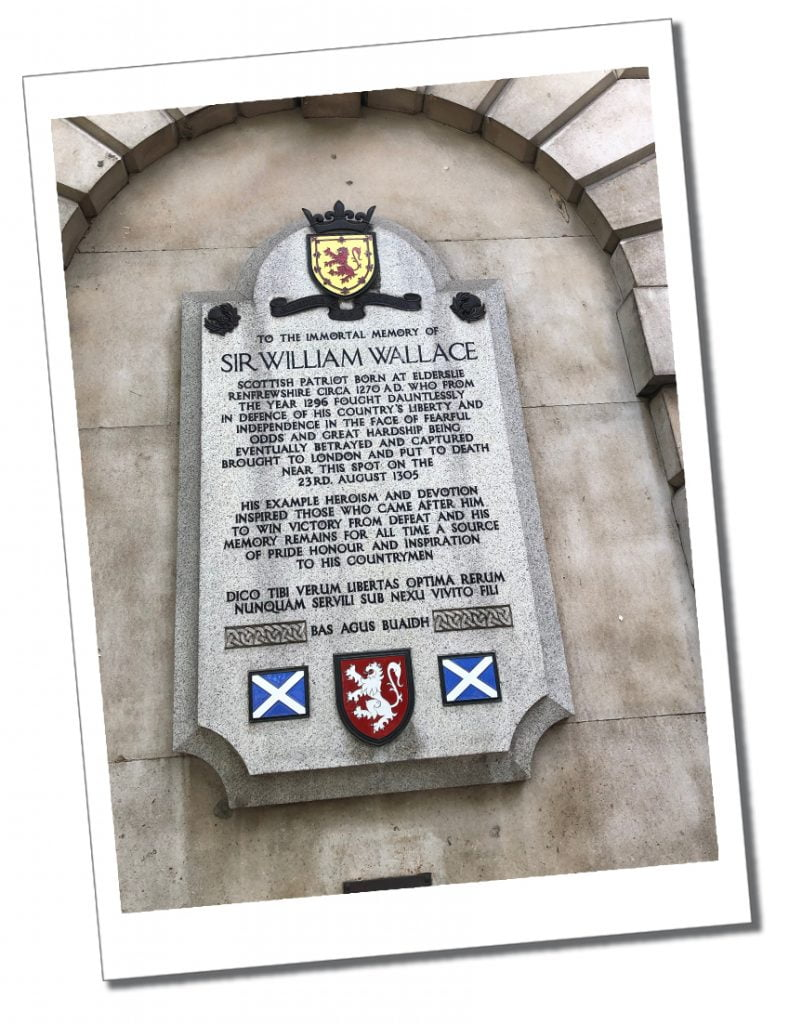 Memorial to William Wallace, St.Bartholomew Hospital, London