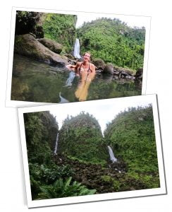 SuewhereWhyWhat relaxing by the waterfall at Trafalgar falls, Dominica, Caribbean