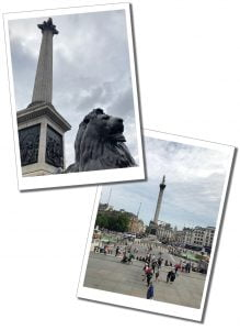 Nelson's column and a lion, Trafalgar Square, London