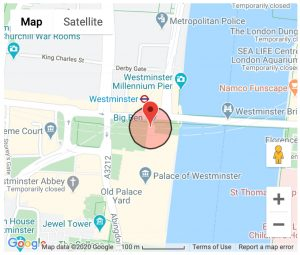 Google Map of the Palace of Westminster, London