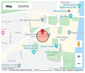 Google Map showing Westminster Abbey, London