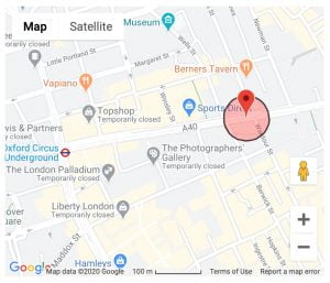 Google Map showing Regents Street, London