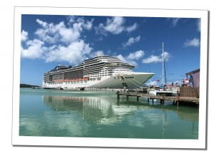 Massive Cruise ship in dock, Antigua