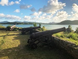 Rusty Cannons pointing out to sea, Fort James, Antigua