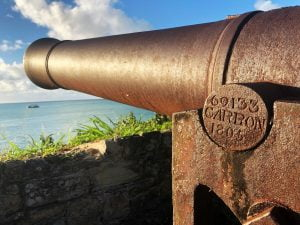 Rusty Canon pointing out to sea, Fort James, Antigua