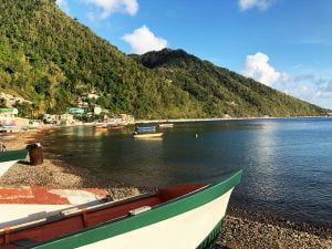 Sunset boats by the shore at Soufriere, Dominica