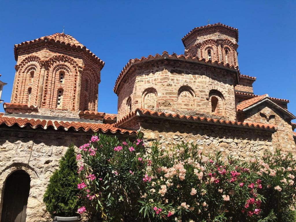 Ornate Church by the water at Lake Ohrid, Macedonia