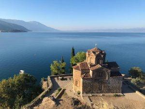 Ornate church at Lake Ohrid, Macedonia