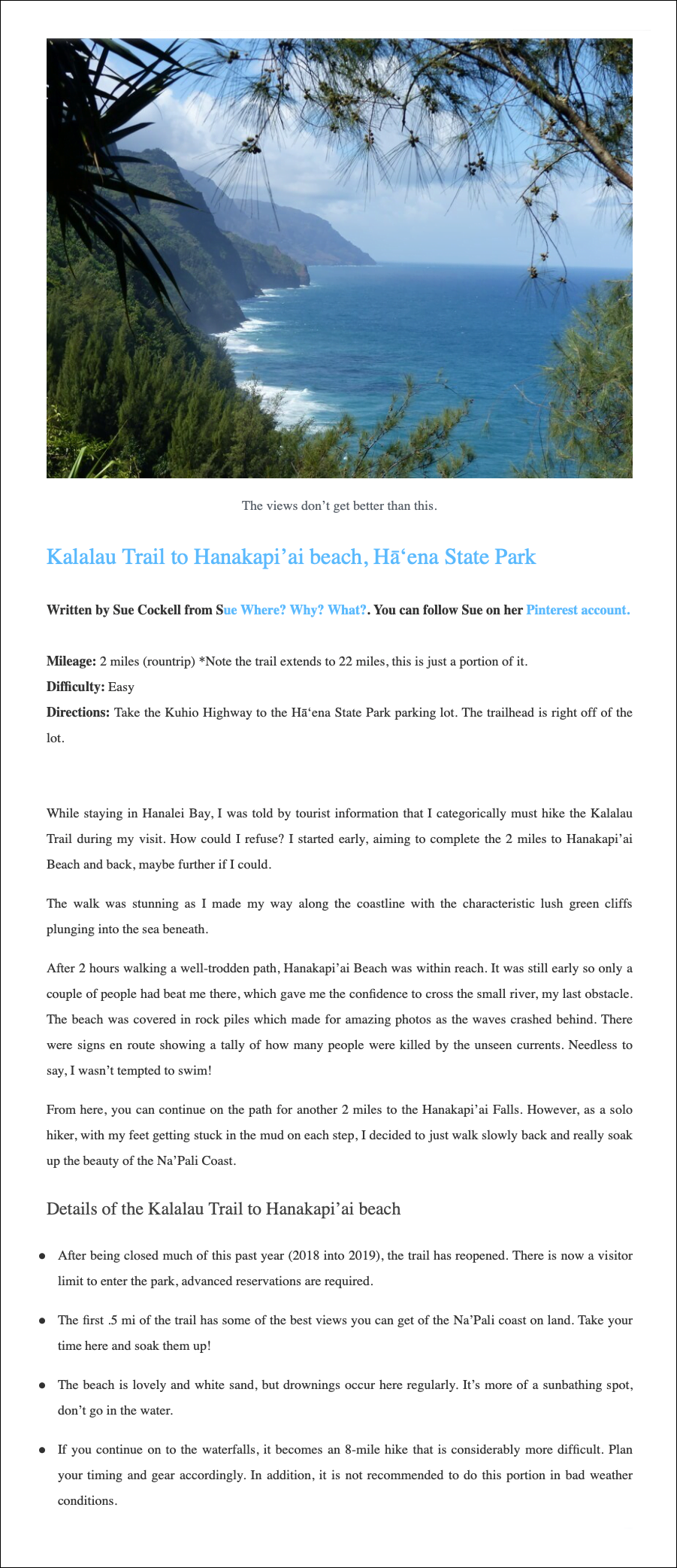 SWWW Post on Miles Less Travelled Kauai Hiking