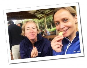 SWWW and Brigitte have lunch, Mount Kilimanjaro, day 1, Londorosi Gate