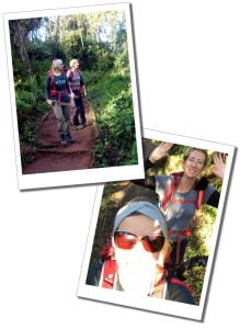 SWWW and Brigitte, hiking in the Forest near Lemosho Gate, Mount Kilimanjaro, day 1