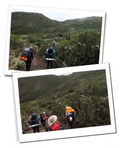SWWW, Brigitte and guides, hiking, Day 2, Mount Kilimanjaro