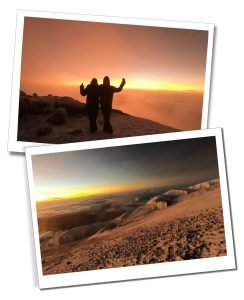 SWWW and Brigit in Silhoutte, celebrating at Dawn, Mount Kilimanjaro