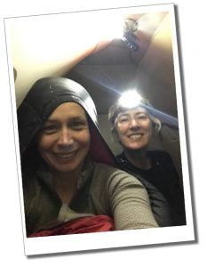Brigit and SWWW in tent with head torch, Kilimanjaro