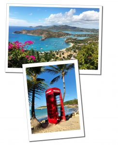 Antigua, Shirley Heights and Phone box on beach
