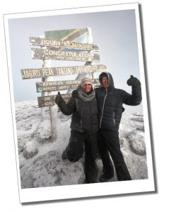 Brigit and SWWW at the Uhuru Peak, Summit, Mount Kilimanjaro, Tanzania