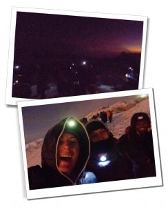 SWWW, Brigit and Zaff celebrate in torch light, summit, Kilimanjaro