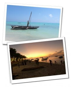 Fishing boat on the sea by day and the beach at dusk, Zanzibar