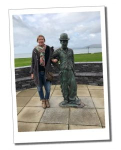 SWWW stands next to a statue of Charlie Chaplin at Waterville, Ring Of Kerry, Ireland