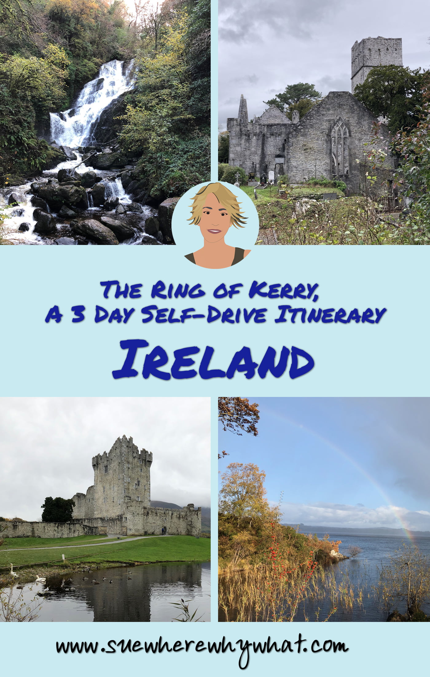 The perfect itinerary for a 3 day road trip of the Ring of Kerry on the Wild Atlantic Way in Ireland. The itinerary includes Killarney National Park, Valentia Island, Skellig Islands, Portmagee, Ballinskelligs, Derrynane, Kenmare, Ross Castle, Muckross House, stone forts, rainbows, castles, abbeys, cliffs & some of the most spectacular scenery anywhere in the world. In addition, there are loads of recommendations for where to sample the best 'craic' & Irish hospitality along the way!