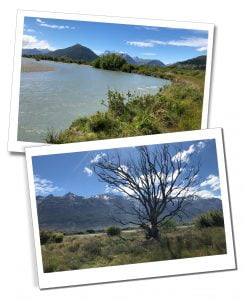 Views of the river and mountains at Glenorchy, New Zealand