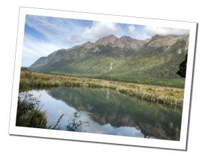 A picture of the beautiful reflective mirror lakes of Milford Sound, New Zealand