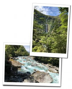 A picture of a cascading waterfall & a raging blue river near Milford Sound, New Zealand