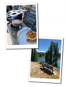 SWWW's crash helmet, lunch and her bike hired from Lakeland Wanaka, at Wanaka, New Zealand