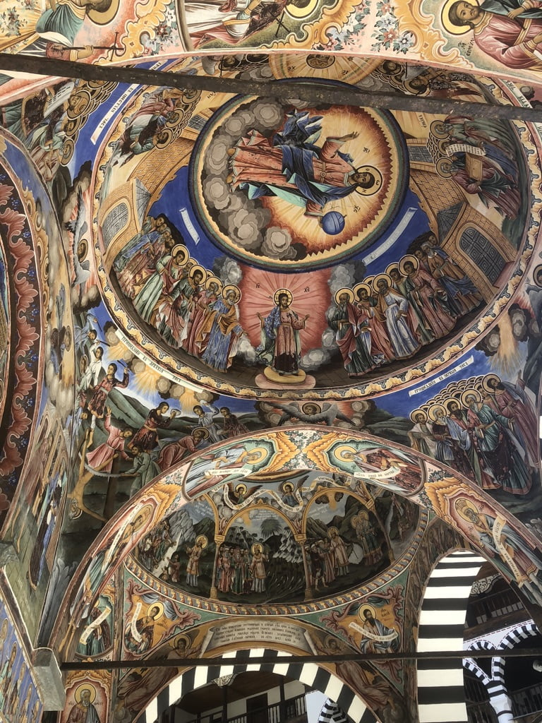 Ornate ceiling of Rila Monastery, Sofia, Bulgaria