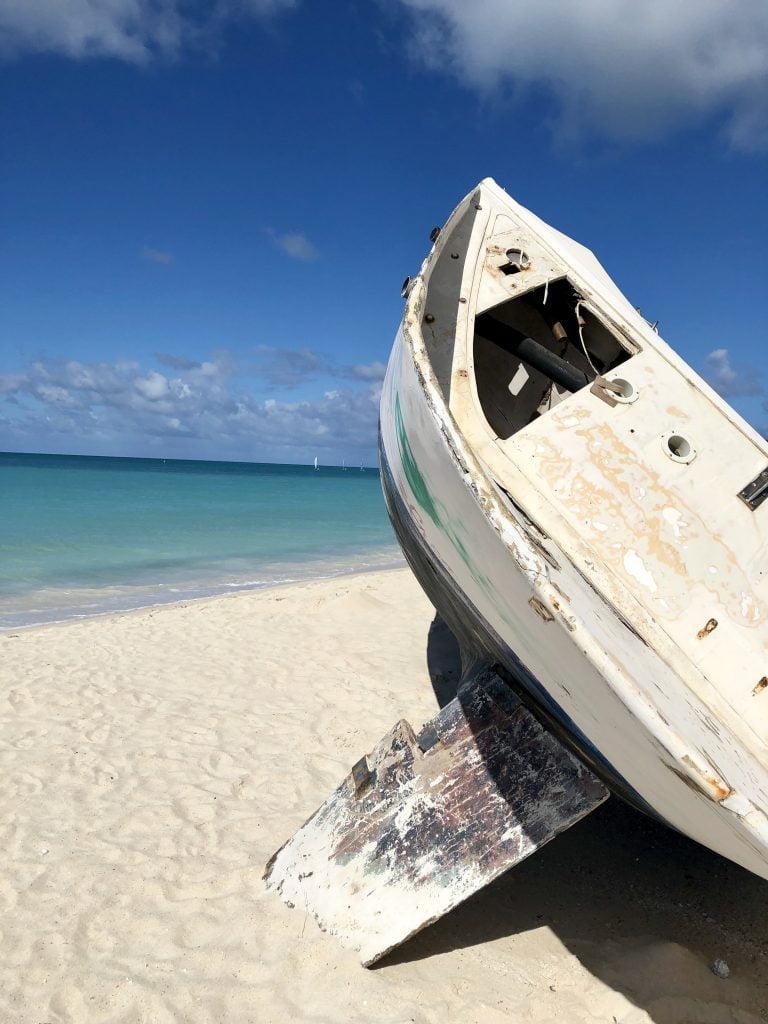 Old boat on the beach, Dickenson Bay, Antigua
