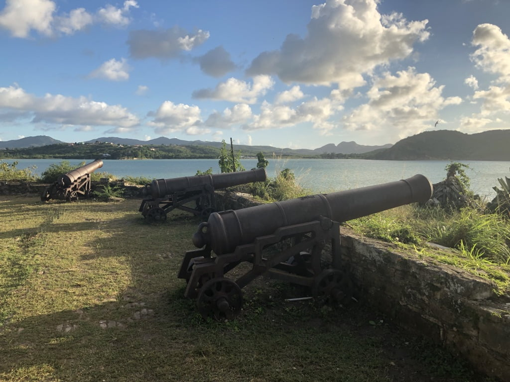 Canons pointing out to sea, Fort James, Antigua