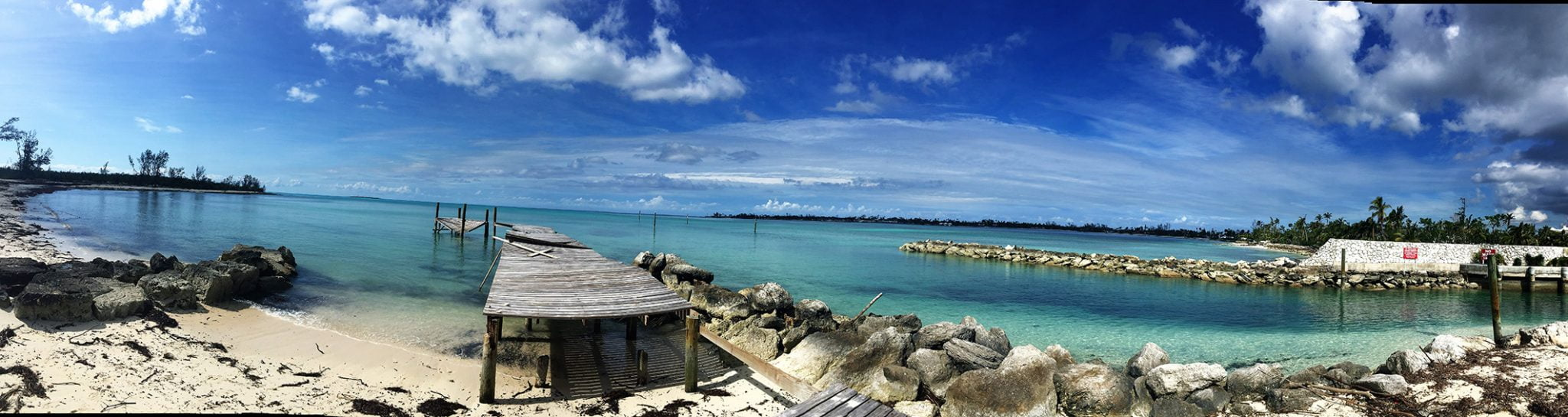 Broken jetty panorama, Bahamas, The Caribbean