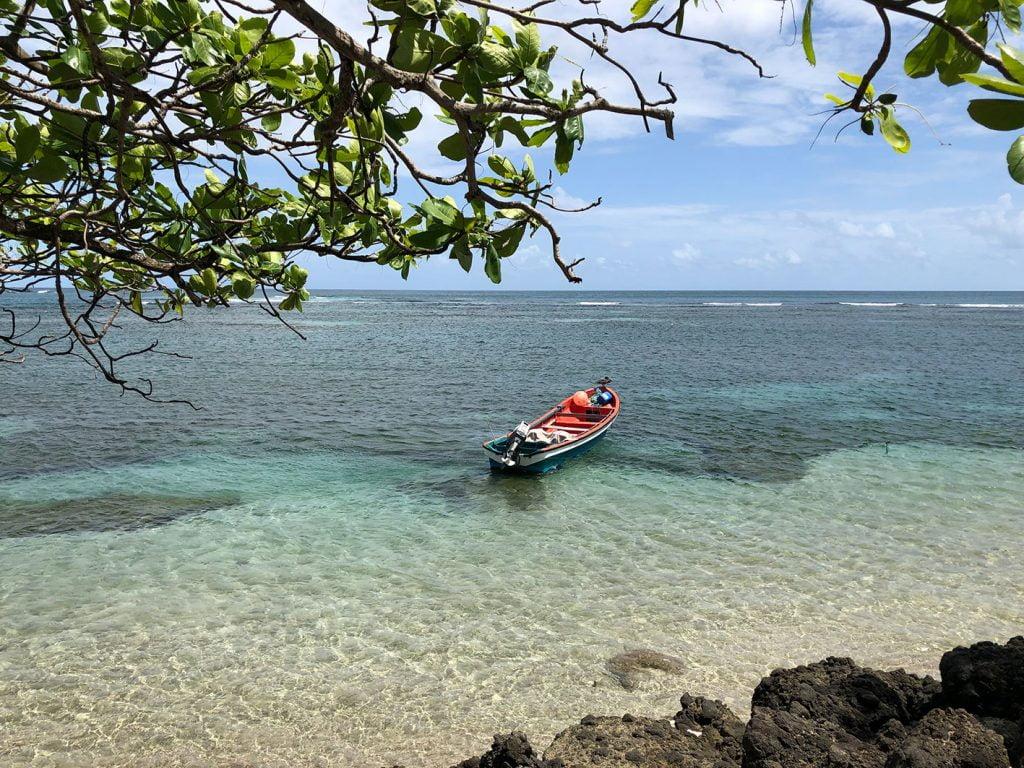 Lone boat on the sea, Martinique, Caribbean
