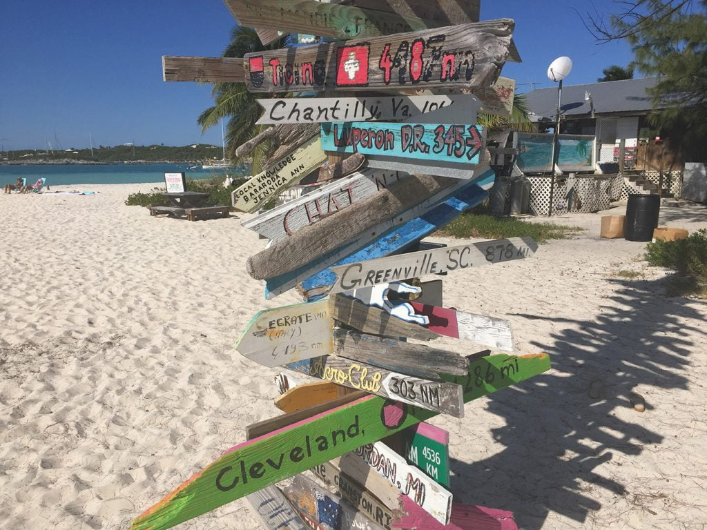 Sign Post on the Beach, Bahamas, Caribbean