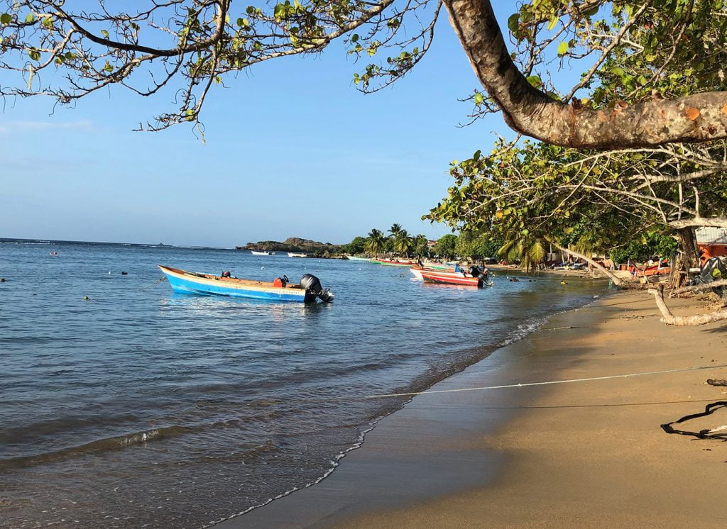 Boats on a sunny beach, Martinique, Caribbean