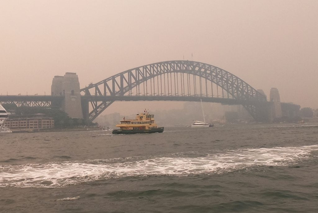Sydney Harbour Bridge during bushfires, Australia