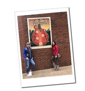SWWW and friend Jill, Nashville guitar poster